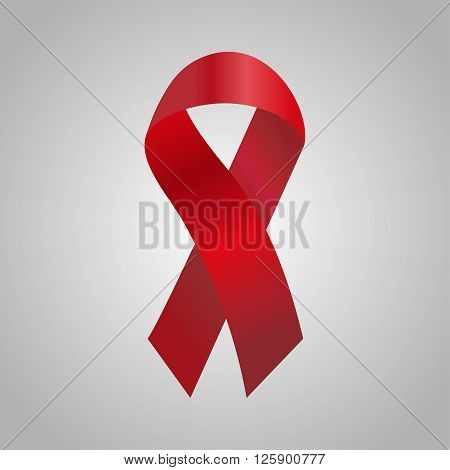 Cancer Ribbon In The Red Gradient. Vector Illustration