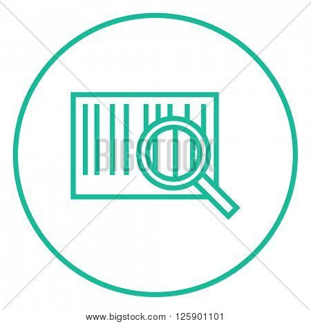 Magnifying glass and barcode line icon.