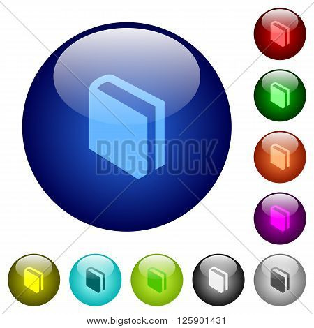 Set of color book glass web buttons.
