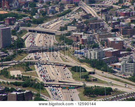 Blocked highway in Chicago