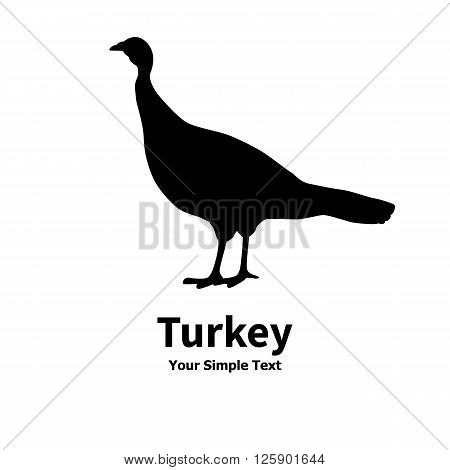 Vector illustration of poultry turkey icon. Isolated silhouette on a white background.