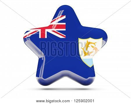 Star Icon With Flag Of Anguilla