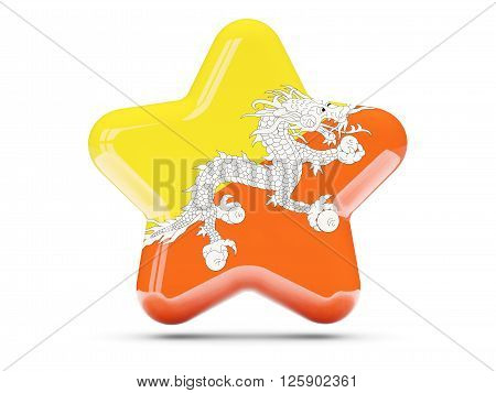 Star Icon With Flag Of Bhutan