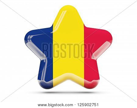 Star Icon With Flag Of Chad
