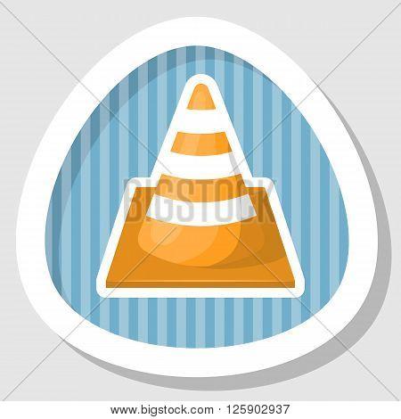 Construction cone and traffic cone colorful icon