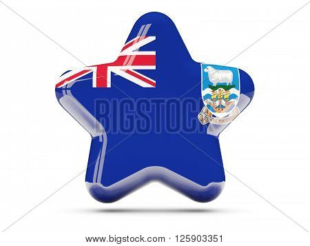 Star Icon With Flag Of Falkland Islands