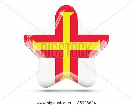 Star Icon With Flag Of Guernsey