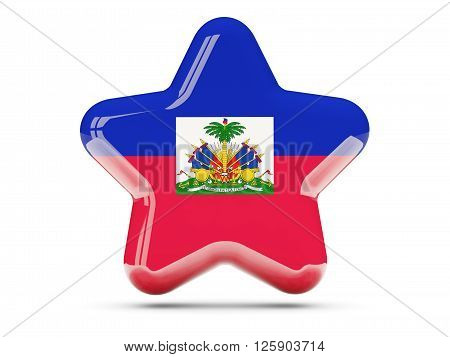 Star Icon With Flag Of Haiti