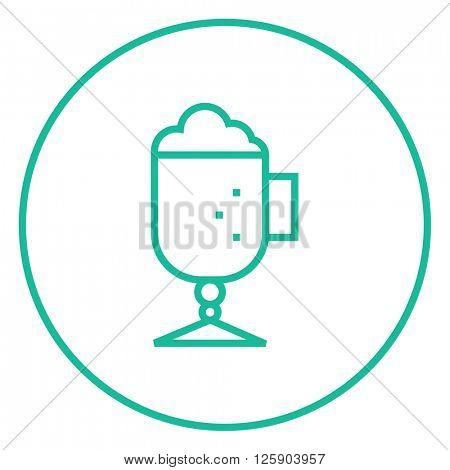 Glass mug with foam line icon.