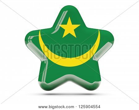 Star Icon With Flag Of Mauritania