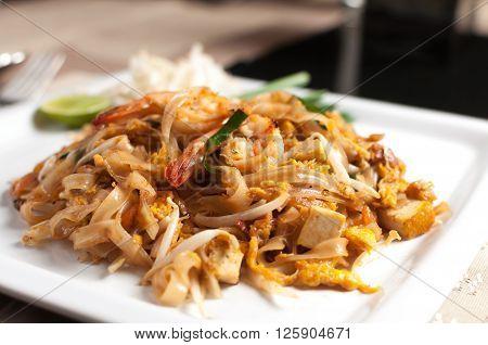Food series : Closeup of Pad Thai, Thai traditional dish