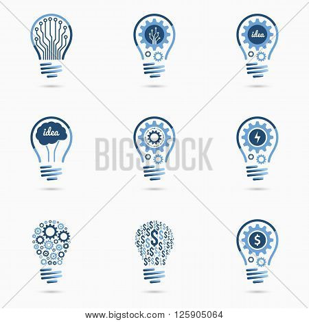 Light bulb idea icons set with gears inside. Light bulb signs, light bulb symbols. Business concept.