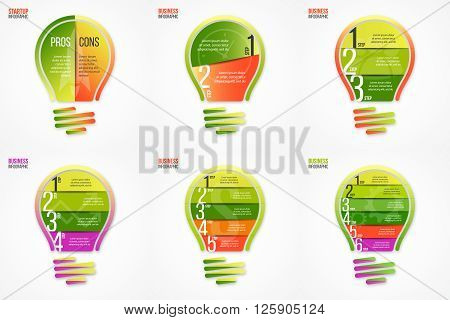 Light bulb vector infographic set of templates for graphs, charts, diagrams and other infographics. Business, science and education idea concept.