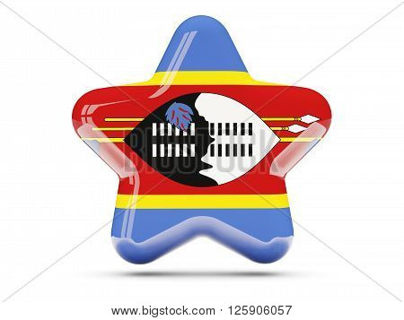 Star Icon With Flag Of Swaziland