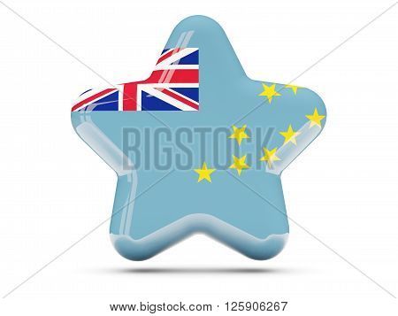 Star Icon With Flag Of Tuvalu