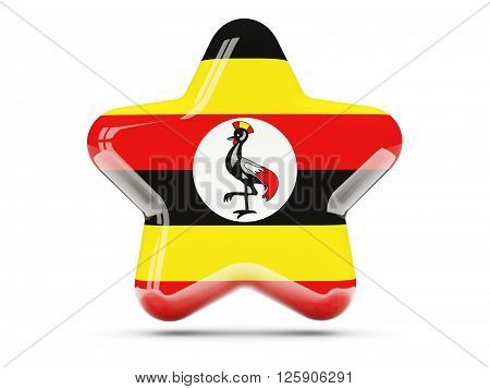 Star Icon With Flag Of Uganda