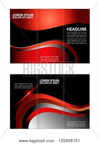tri fold business brochure template. Dark and Red Style Tri-Fold Brochure Design. Corporate Leaflet, Cover Template