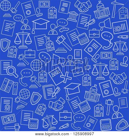White line icons of legal services on a blue background. Vector seamless background.
