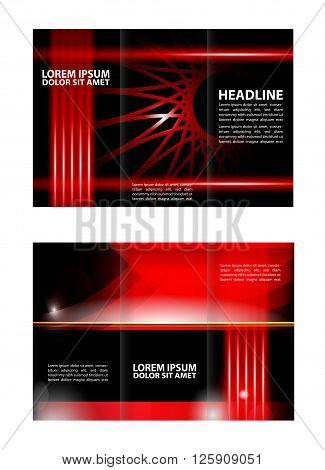 Vector red tri-fold brochure design template. Wave red design template for tri-fold brochure