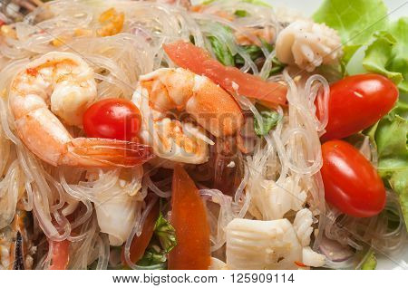 Food series : Thai spicy seafood salad with glass noodle, Thai foods