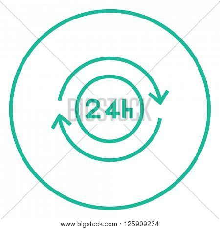 Service 24 hrs line icon.