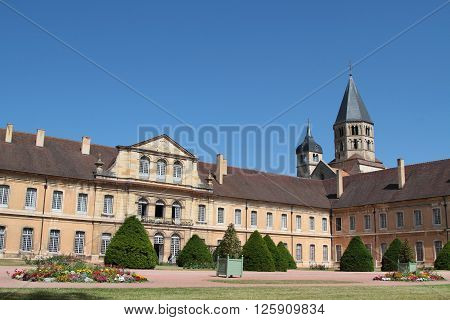 CLUNY FRANCE - June 8 2014 : Cluny Abbey. Cluny is the symbol of the monastic revival. The abbey was a leading intellectual center in the Middle Ages. Only a part subsists under protections of Historic monuments. The buildings of the abbey shelter one of