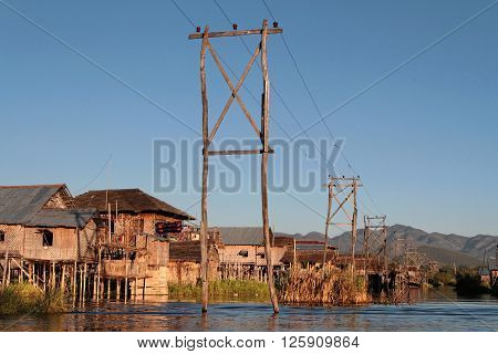 Inle Lake, Myanmar, December 15, 2014 : The Tribe Of Inthar, Which Populates The Region, Built On Th