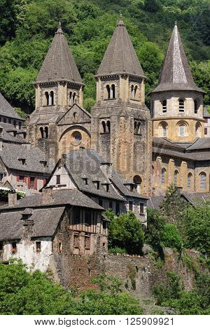 Conques, France, June 19, 2015 : The St.foy Abbey In Conques Is A Popular Stop For Pilgrims On Their