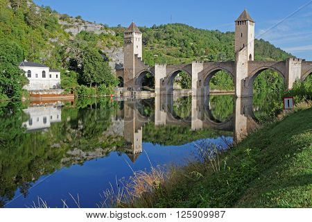 Cahors, France, June 22, 2015 : The Valentre Bridge, The Symbol Of Cahors, Was Completed In 1378 And