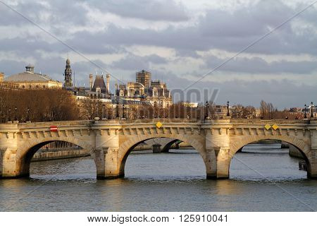 Paris, France, January 26, 2016 : The Pont Neuf Is The Oldest Standing Bridge Across The River Seine