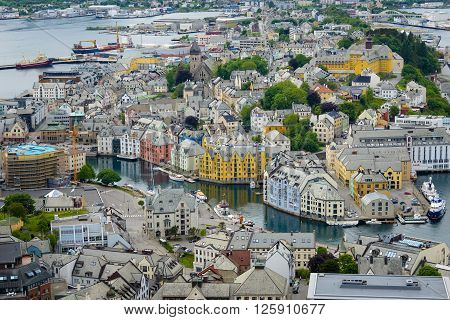 Alesund, Norway - June 5, 2014: The city of Alesund with Art Nouveau houses in Norway, seen from Aksla mountain viewpoint