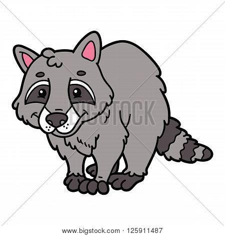 Cute cartoon raccoon animal character. Vector illustration of cute cartoon raccoon character for children and scrap book