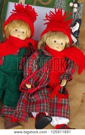 Dolls objects toy flea market still life.