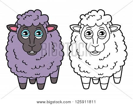 sheep coloring page. Vector educational coloring page of happy cartoon sheep for children, coloring and scrap book