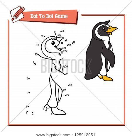 dot to dot penguin educational kid game. Vector illustration of dot to dot kid puzzle with happy cartoon penguin for children