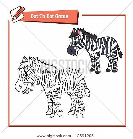 dot to dot educational zebra kid game. Vector illustration of dot to dot kid puzzle with happy cartoon zebra for children