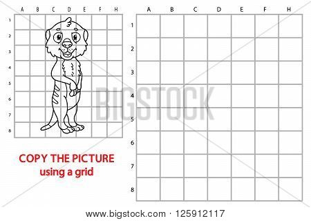 meerkat educational grid game. Vector illustration of grid copy educational puzzle game with happy cartoon meerkat for children