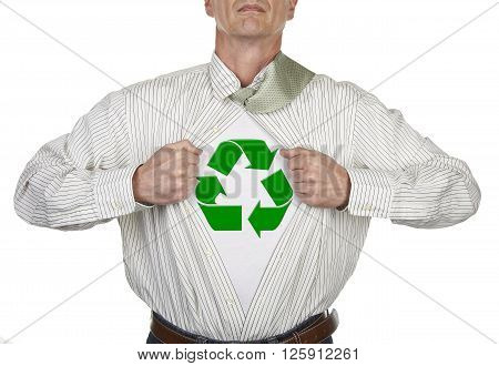 Businessman showing recycling symbol superhero suit underneath his shirt standing against white background