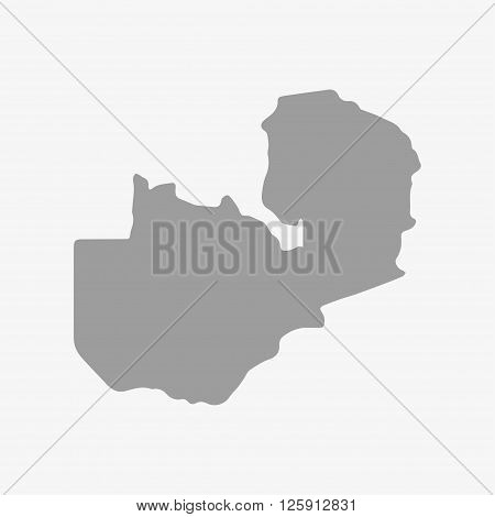 Zambia map in gray on a white background