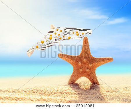 Summer beach. Starfish and umbrella on a beach sand against the background of the ocean.
