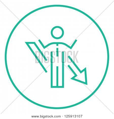Businessman with arrow down line icon.