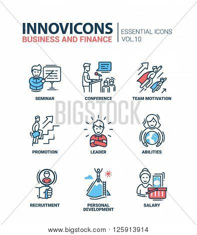 Modern vector business and finance icons collection.  Seminar conference team motivation promotion leader abilities recruitment personal development salary