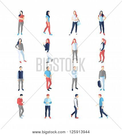 People, male, female, in different casual common poses - modern vector flat design isolated icons set. Standing walking watching smartphone arms across akimbo with a bag