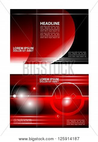 Vector red brochure template design. Vector rec brochure template design tri-fold