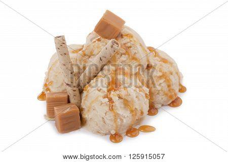 yummy vanilla ice cream isolated on white background