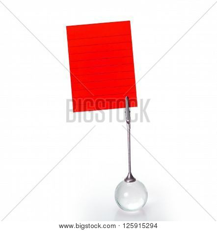 The Silver Business Card Holder with red paper note on white background