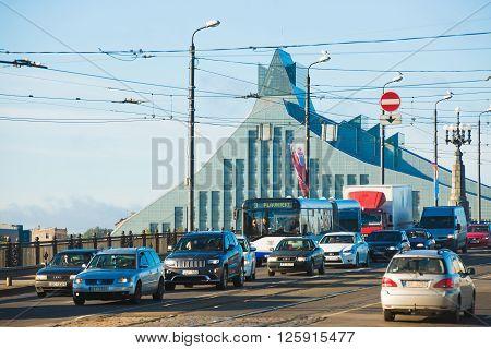Car Traffic In Riga