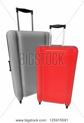 Large Luggages Isolated On White Background.