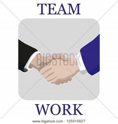 Shaking hands business vector illustration with abstract rays symbol of success deal happy partnership greeting shake casual handshaking