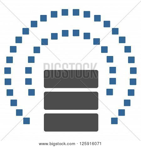 Database Sphere Shield vector toolbar icon. Style is bicolor flat icon symbol, cobalt and gray colors, white background, square dots.